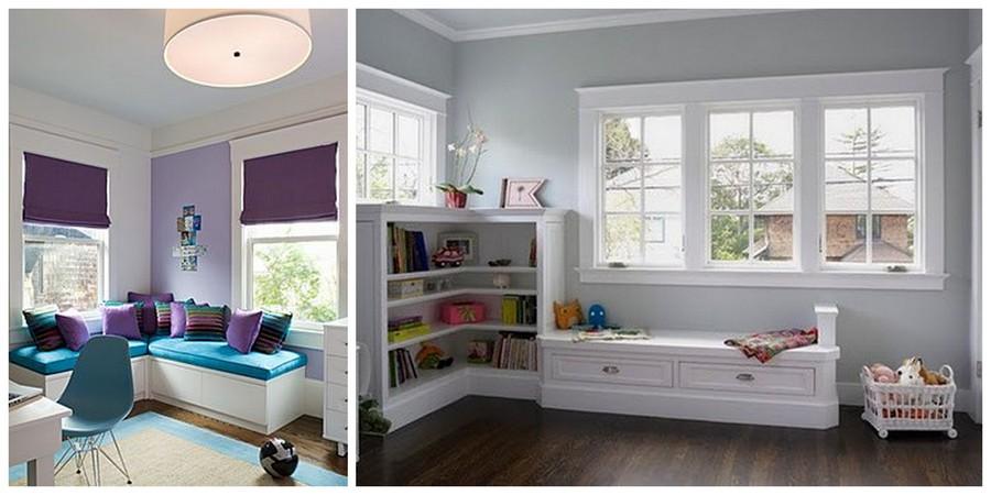 использование пространства у окна в детских комнатах