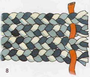 переплетение косичек отделочной лентой