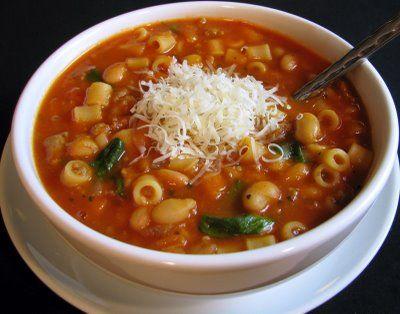 итальянский суп с макаронами и фасолью