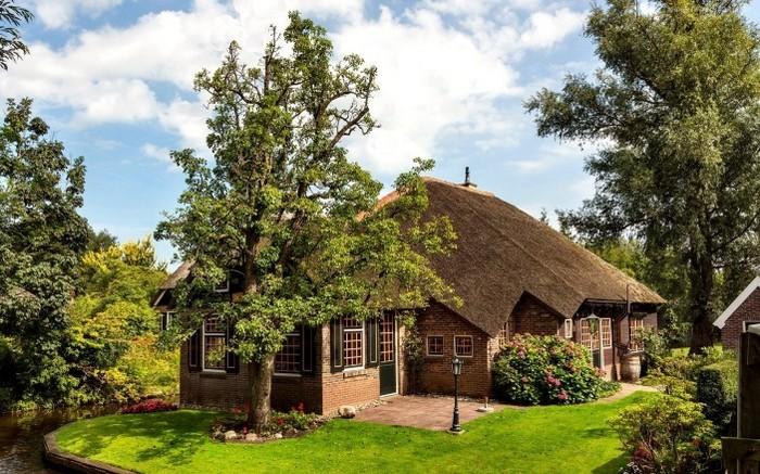 кирпичный дом с соломенной крышей
