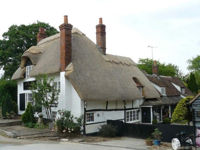 белый дом с соломенной крышей