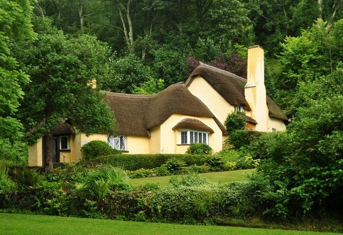 дом с соломенной крышей среди зелени