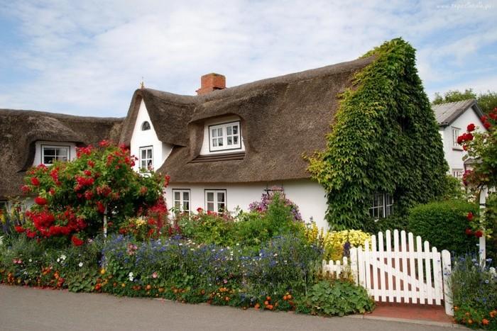 домик с соломенной крышей, цветы и белая калитка