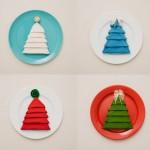 Разноцветные салфетки на разноцветных тарелочках
