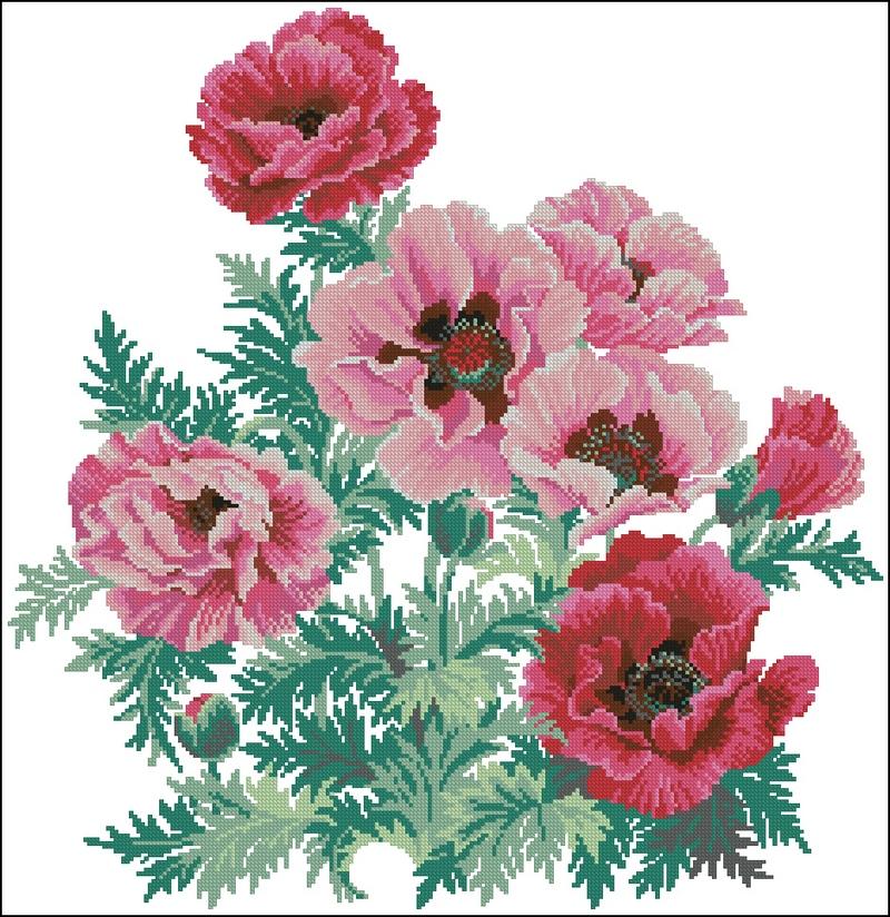 Вышивка розовые маки